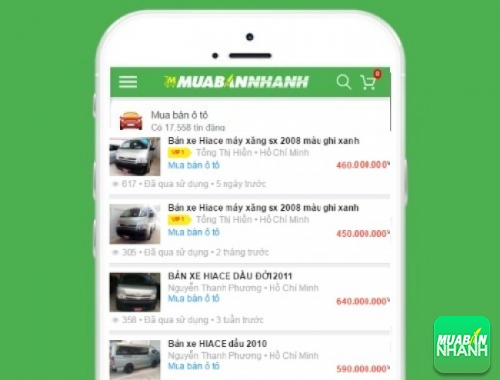 Giá xe Toyota Hiace trên mạng xã hội MuaBanNhanh