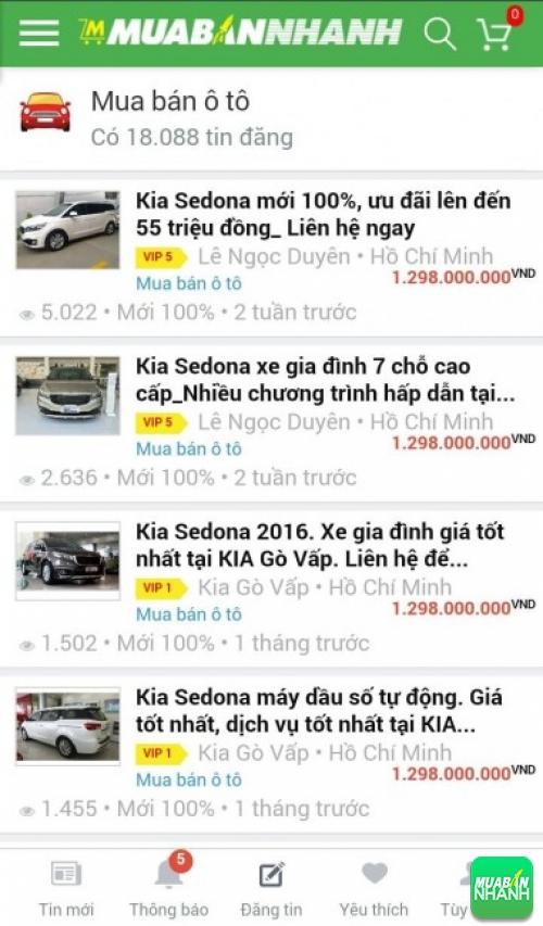 Giá các phiên bản xe Kia Sedona trên mạng xã hội MuaBanNhanh