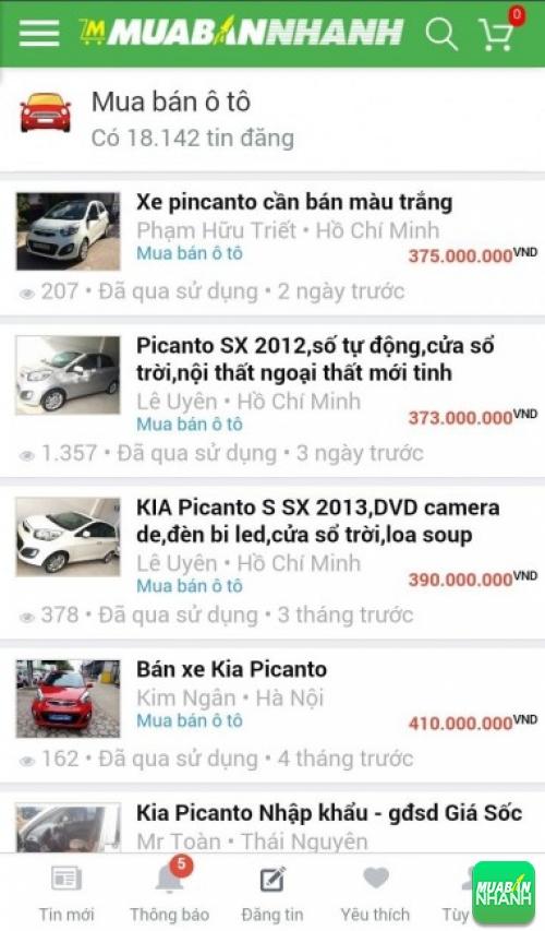 Giá các phiên bản xe Kia Picanto trên mạng xã hội MuaBanNhanh