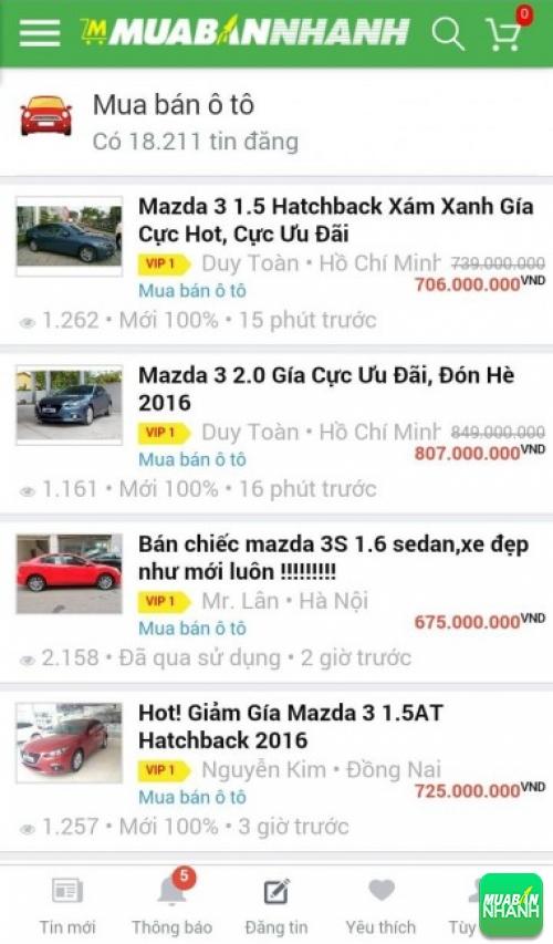 Giá các dòng xe Mazda 3 trên mạng xã hội MuaBanNhanh