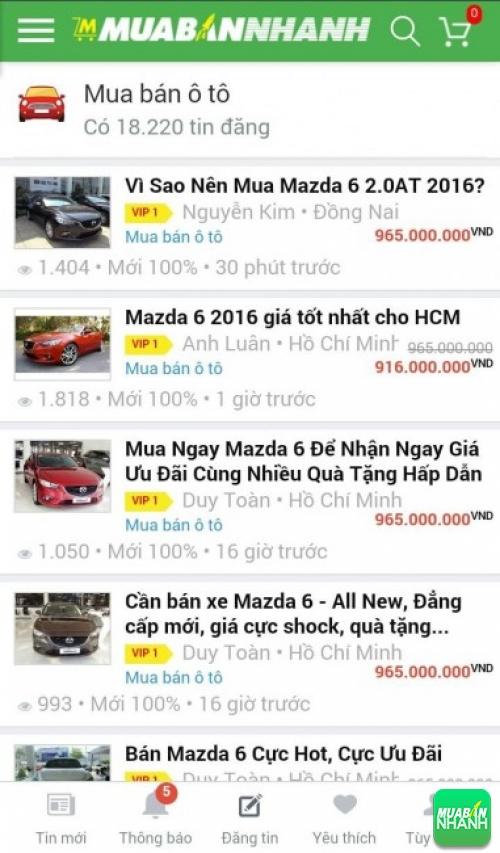 Giá các dòng xe Mazda 6 trên mạng xã hội MuaBanNhanh