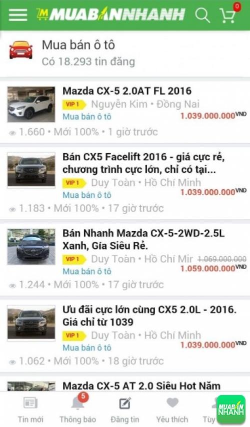 Giá các dòng xe Mazda CX-5 trên mạng xã hội MuaBanNhanh