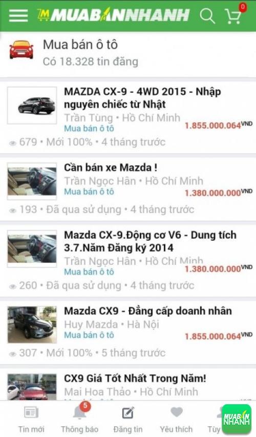 Giá các dòng xe Mazda CX-9 trên mạng xã hội MuaBanNhanh