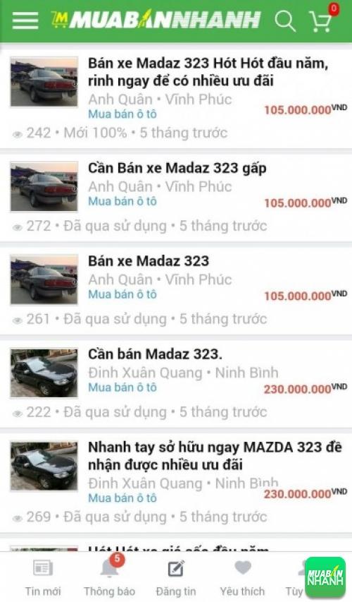 Giá các dòng xe Mazda 323 trên mạng xã hội MuaBanNhanh