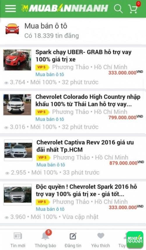 Giá các dòng xe Chevrolet trên mạng xã hội MuaBanNhanh