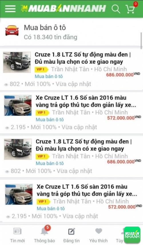 Giá các phiên bản xe Chevrolet Cruze trên mạng xã hội MuaBanNhanh