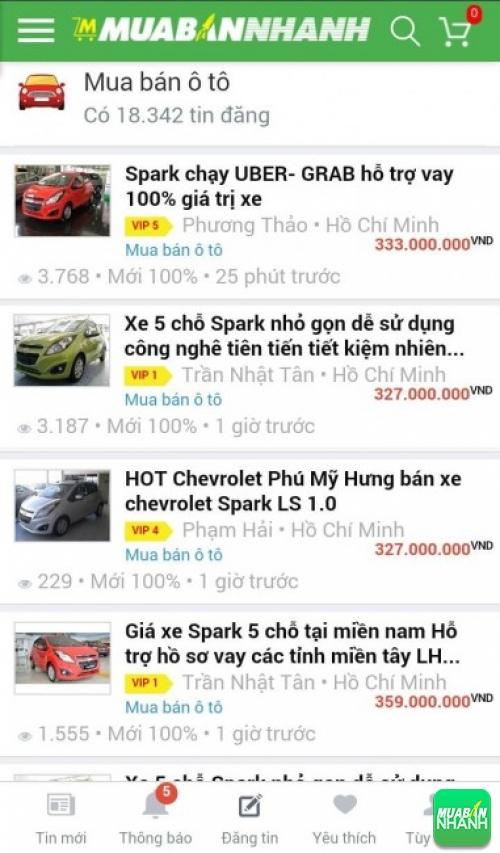 Giá các phiên bản xe Chevrolet Spark trên mạng xã hội MuaBanNhanh