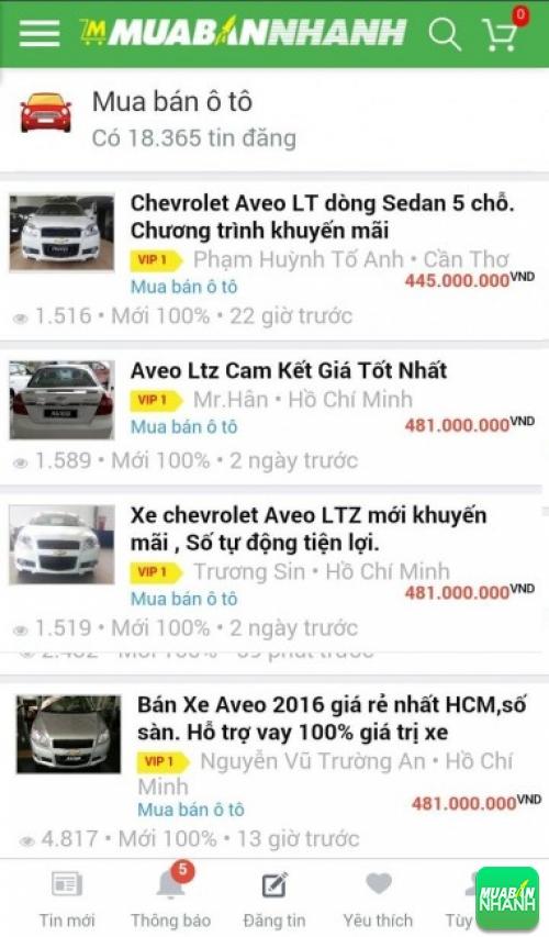 Giá các phiên bản xe Chevrolet Aveo trên mạng xã hội MuaBanNhanh