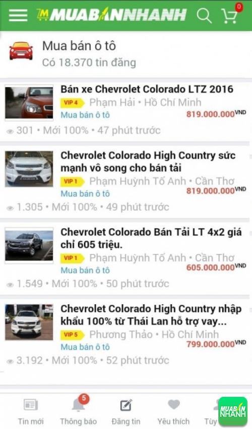 Giá các phiên bản xe Chevrolet Colorado trên mạng xã hội MuaBanNhanh