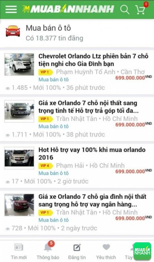 Giá các phiên bản xe Chevrolet Orlando trên mạng xã hội MuaBanNhanh