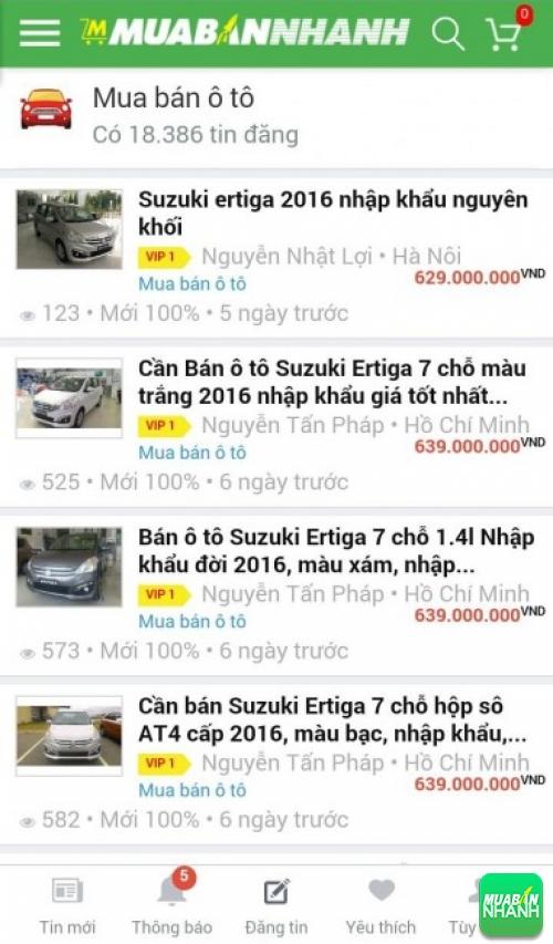 Giá xe Suzuki Ertiga trên mạng xã hội MuaBanNhanh