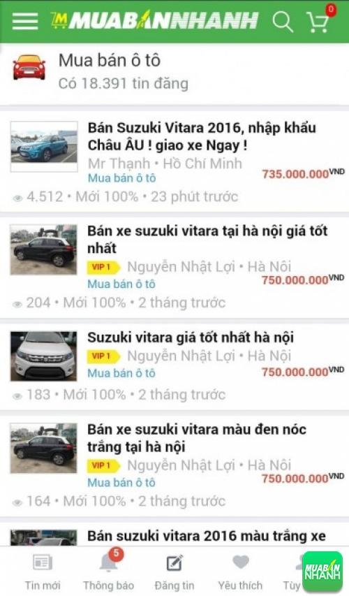 Giá xe Suzuki Vitara trên mạng xã hội MuaBanNhanh