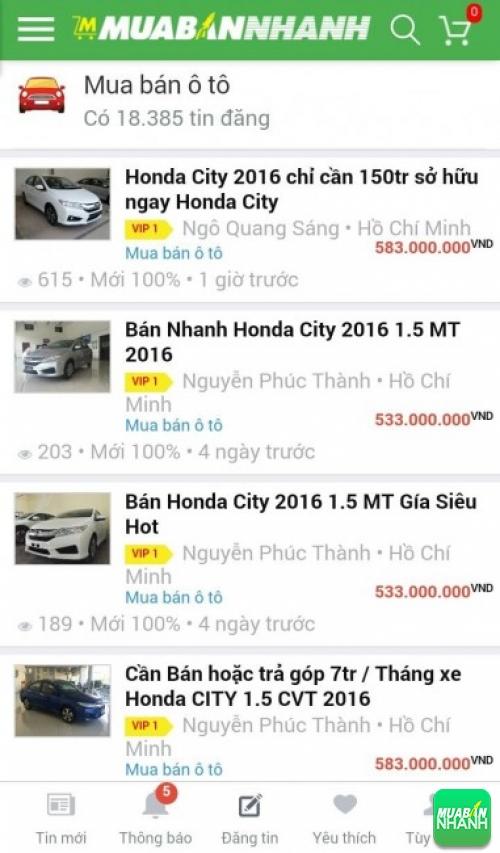 Giá các dòng xe Honda City trên mạng xã hội MuaBanNhanh