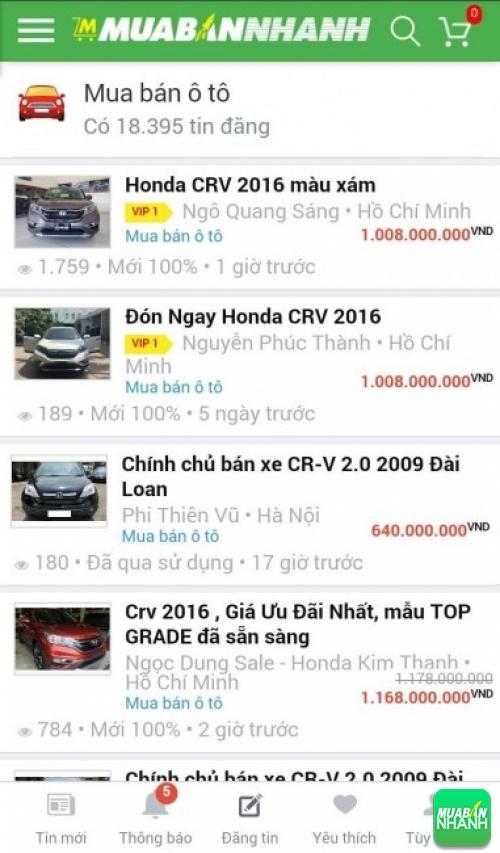 Giá các dòng xe Honda CR-V trên mạng xã hội MuaBanNhanh