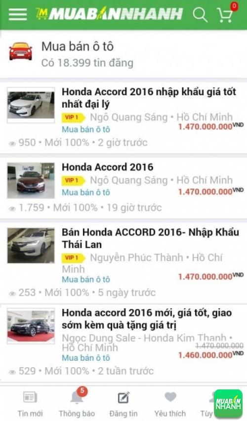 Giá các dòng xe Honda Accord trên mạng xã hội MuaBanNhanh