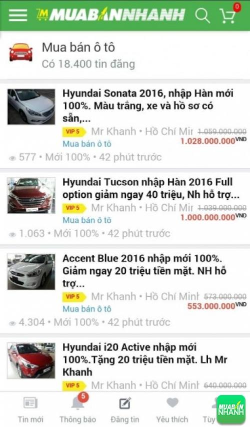 Giá các dòng xe Hyundai trên mạng xã hội MuaBanNhanh
