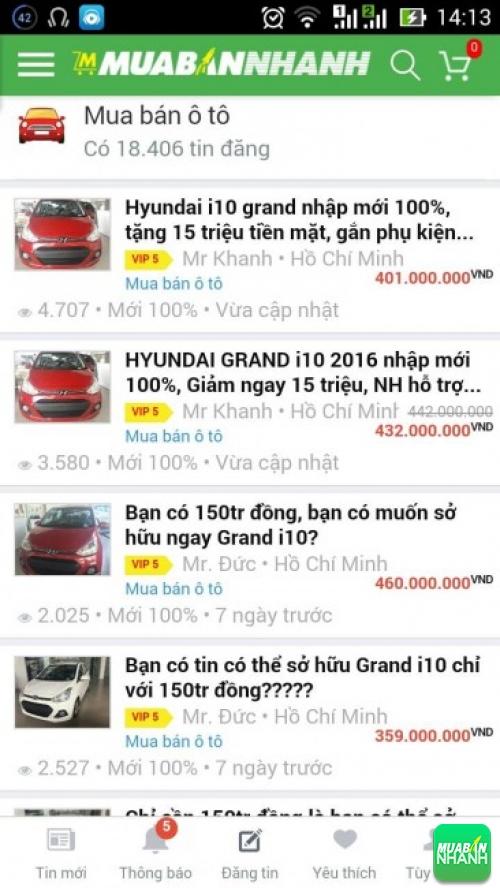 Giá các dòng xe Hyundai Grand i10  trên mạng xã hội MuaBanNhanh