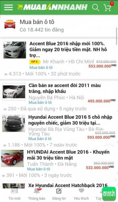 Giá các dòng xe Hyundai Accent trên mạng xã hội MuaBanNhanh