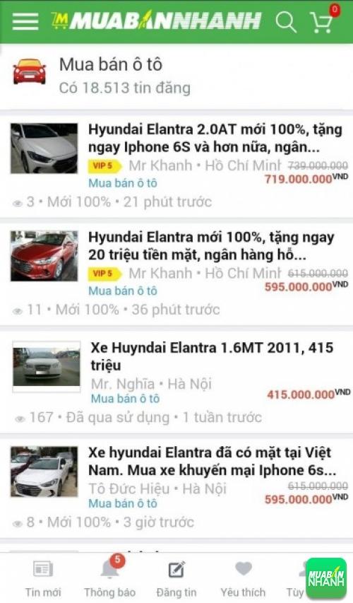 Giá các dòng xe Hyundai Elantra trên mạng xã hội MuaBanNhanh