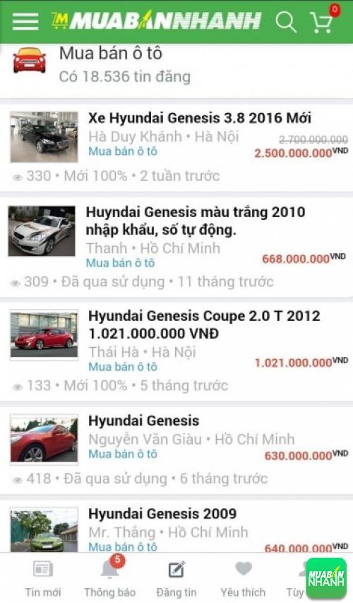Giá các phiên bản xe Hyundai Genesis trên mạng xã hội MuaBanNhanh