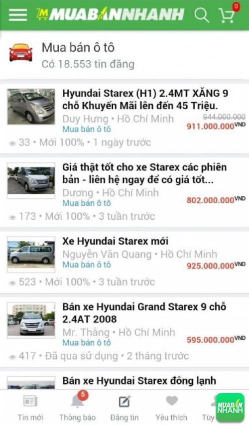 Giá các phiên bản xe Hyundai Starex trên mạng xã hội MuaBanNhanh