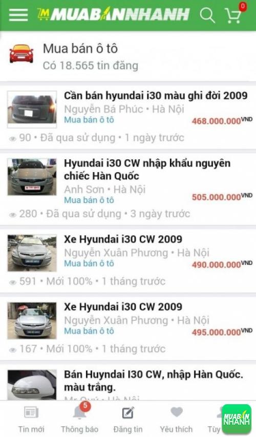 Giá các phiên bản xe Hyundai i30 trên mạng xã hội MuaBanNhanh