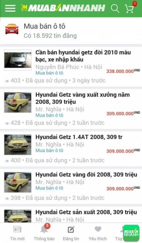 Giá các phiên bản xe Hyundai Getz trên mạng xã hội MuaBanNhanh