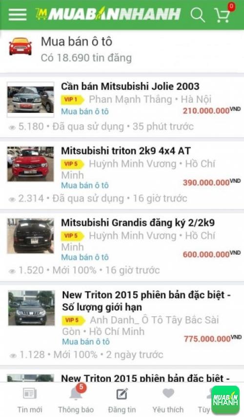Giá các dòng xe Mitsubishi trên mạng xã hội MuaBanNhanh