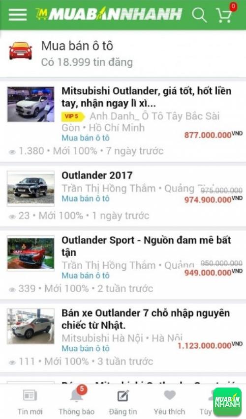 Giá các dòng xe Mitsubishi Outlander trên mạng xã hội MuaBanNhanh