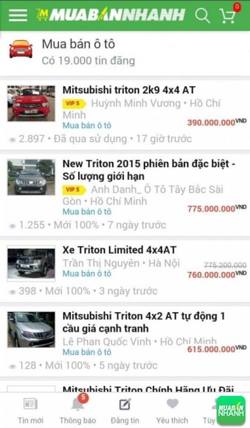 Giá các dòng xe Mitsubishi Triton trên mạng xã hội MuaBanNhanh