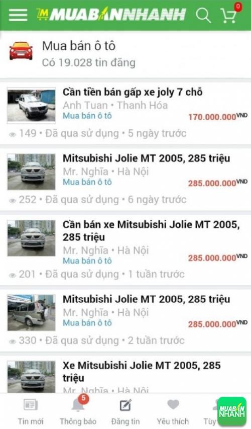 Giá các dòng xe Mitsubishi Grandis trên mạng xã hội MuaBanNhanh