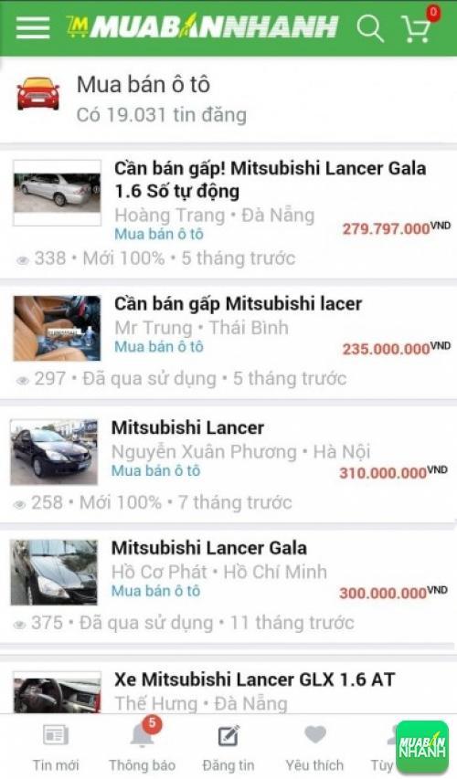 Giá các dòng xe Mitsubishi Lancer trên mạng xã hội MuaBanNhanh