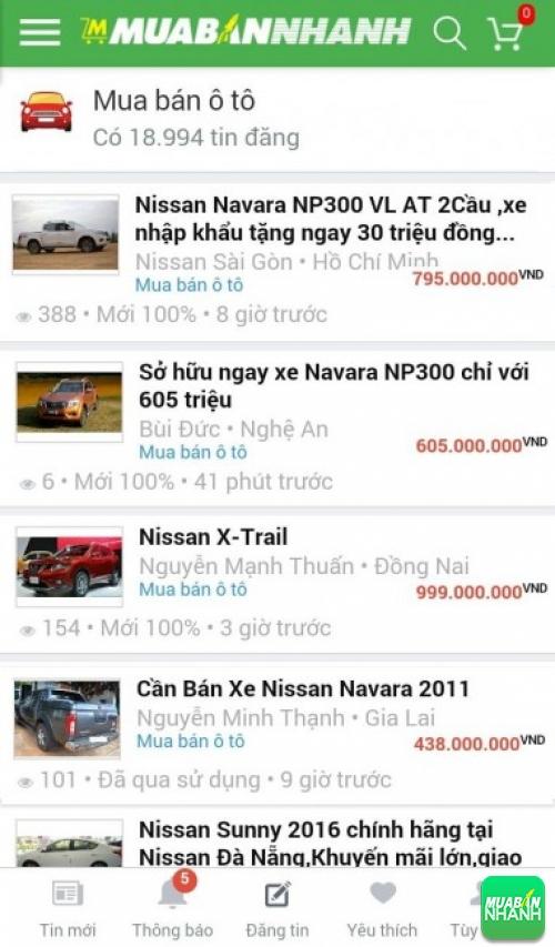Giá các dòng xe Nissan trên mạng xã hội MuaBanNhanh