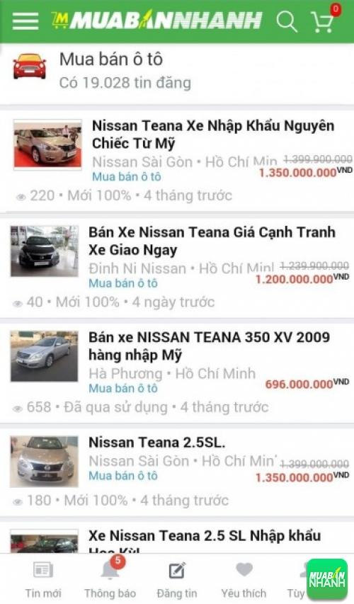 Giá xe Nissan Teana trên mạng xã hội MuaBanNhanh