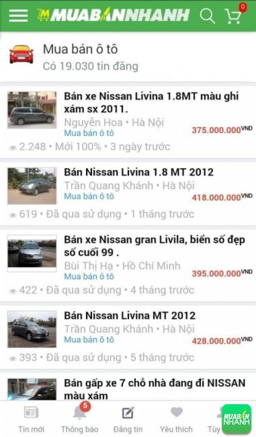 Tìm mua xe ôtô Nissan Livina hiệu quả trên Mạng xã hội MuaBanNhanh