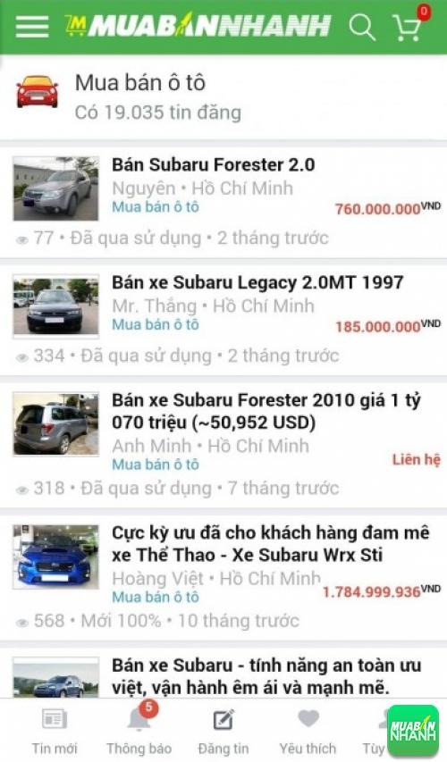 Giá các dòng xe Subaru trên mạng xã hội MuaBanNhanh