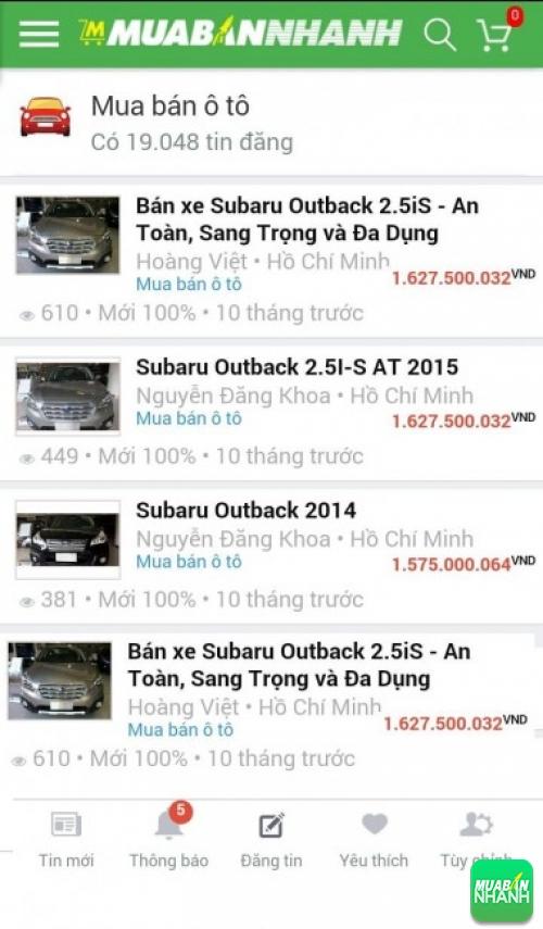 Giá các dòng xe Subaru Outback trên mạng xã hội MuaBanNhanh