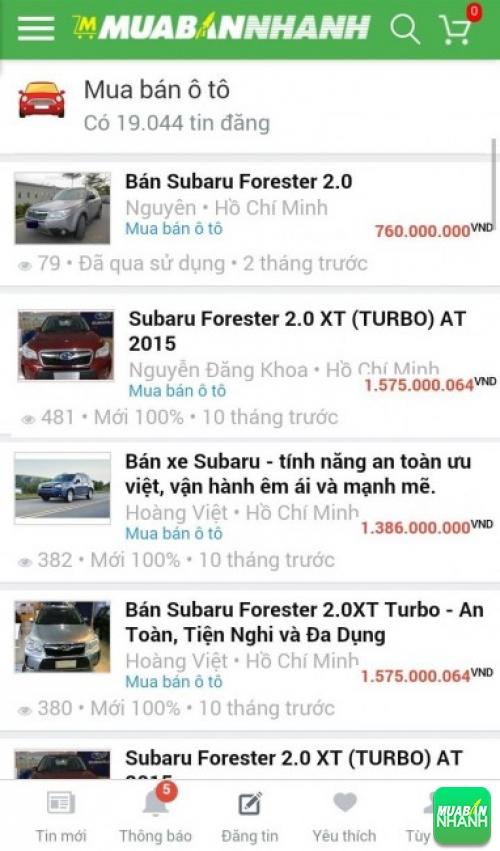 Giá các dòng xe Subaru Forester trên mạng xã hội MuaBanNhanh