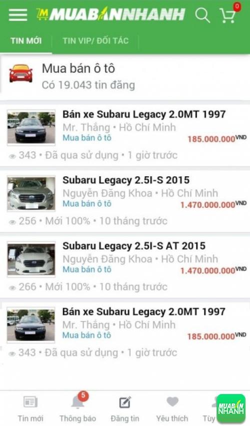 Giá các dòng xe Subaru Legacy trên mạng xã hội MuaBanNhanh