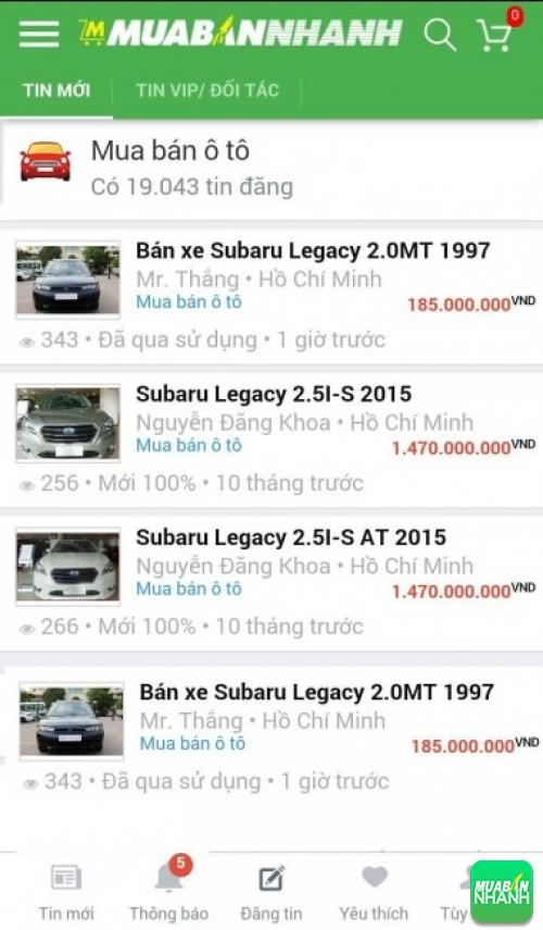 Giá các dòng xe Subaru XV trên mạng xã hội MuaBanNhanh